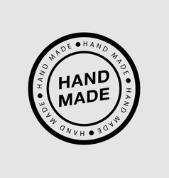 hand made - round logo badge or insignia in flat vector image