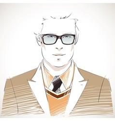 Handsome young businessman portrait vector