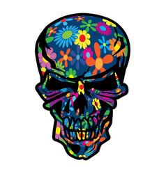 hippie flowers skull vector image