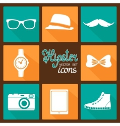 Hipster accessories pictograms set vector