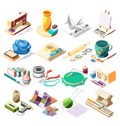 Hobby crafts isometric icons set vector