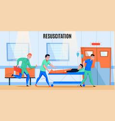 hospital ambulance flat composition vector image