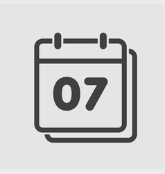 icon calendar day number 7 line flat vector image