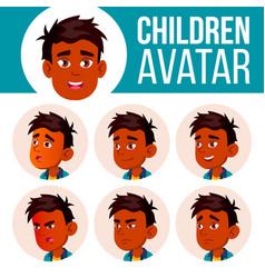 indian boy avatar set kid primary school vector image