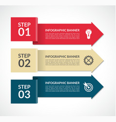 Infographic arrows 3 steps design template vector