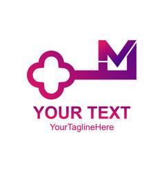 Initial letter m logo template key design vector
