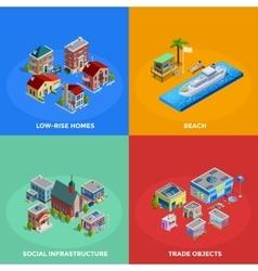 Isometric City 2x2 Icons Set vector image