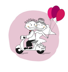 just married leaving for honeymoon on a scooter vector image