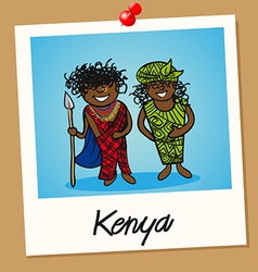 Kenya travel polaroid people vector image