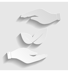 Leaf sign Paper style icon vector