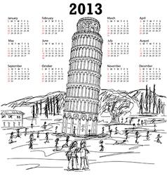 Leaning tower pisa 2013 calendar vector