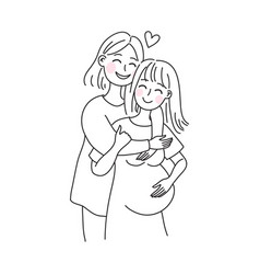 Lesbian family concept kiss and hug pregnant vector