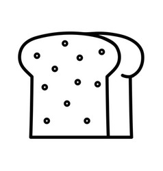 Line delicious slice bread bakery food vector