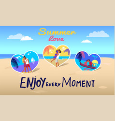love summer poster banner with typography slogan vector image