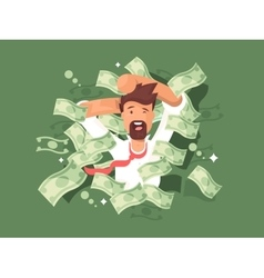 Man in a pile of money vector image