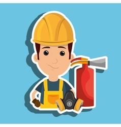 Man mask extinguisher icon vector