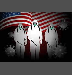 men in hazmat suits carrying disinfectant sprays vector image