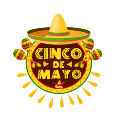 Mexican cinco de mayo holiday sombrero icon vector