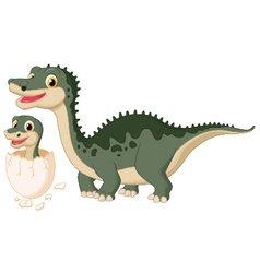 Mother dinosaur with baby hatching vector image