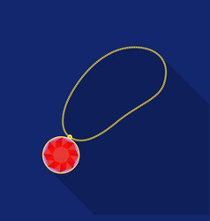 necklace with gem icon in flat style isolated on vector image