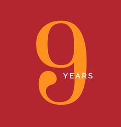 Nine years symbol ninth birthday emblem vector