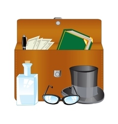 Open briefcase and subjects vector image