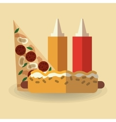 Pizza and hot dog design vector image