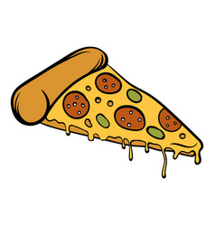 pizza slice icon cartoon vector image