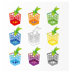 plastic basket set trash bins on white vector image