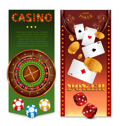 realistic casino games vertical banners vector image