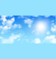 Realistic clouds sky background vector