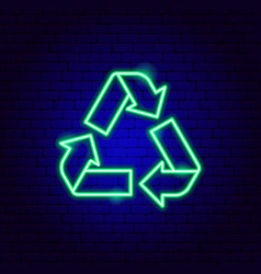 recycling neon sign vector image
