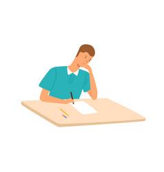 sad teenage student having exam or writing test vector image