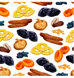 Seamless pattern of dried fruits snacks vector