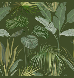 Seamless tropical botanical background floral vector