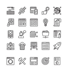 seo and web optimization line icons 4 vector image