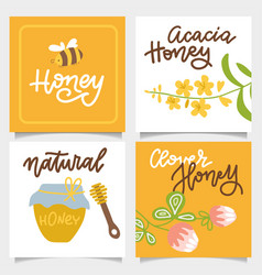 set banners on theme honey with a glass vector image