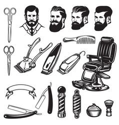 set of barbershop design elements scissors vector image