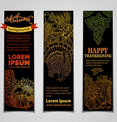 Set of dark Thanksgiving vertical banners vector