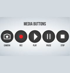 Set of round black camera media buttons isolated vector