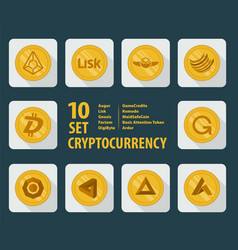 Set of ten different cryptocurrency icons on a vector