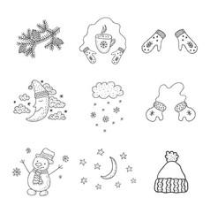 Set of winter objects nursery art minimalist vector