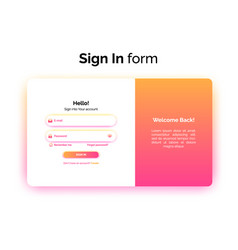 sign in form web design ui ux login interface vector image