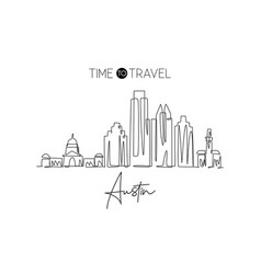 single continuous line drawing austin city vector image