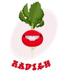 smiling radish on white vector image