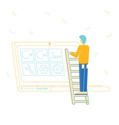 software development concept programmer make site vector image