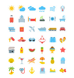 Summer vacation travel icons vector