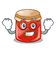 Super hero strawberry marmalade in glass jar of vector