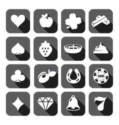 The set of flat casino icons vector image