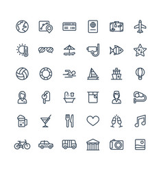 Thin line icons set with travel tourism vector